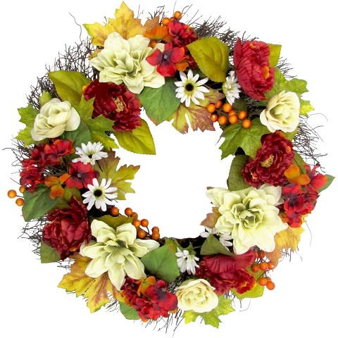 Fraser Hill Farm 24-inch Spring Wreath Door Hanging with Peony, Hydrangea, and Dahlia Blooms, FF024SPWR002-0MLT