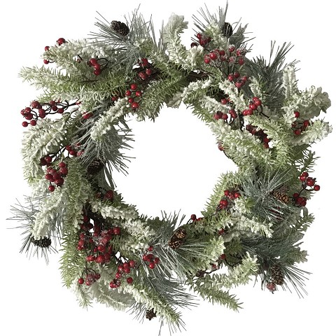Fraser Hill Farm Snow-Covered 25-In. Wreath and 9-Ft. Garland Set - Frosted with Pinecones and Berries, FFCH004SET-0SN