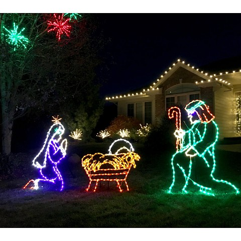 "Fraser Hill Farm Christmas Giant Outdoor LED Lights, 3-Piece Nativity Set w/ Joseph (51"" x 34""), Mary (43"" x 33"") and Baby Jesus (37"" x 32""), FFCHLED003-NTV0-MTL"