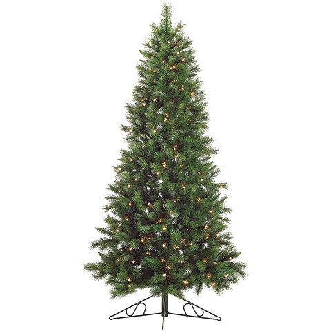 Fraser Hill Farm 6.5-Ft. Canyon Pine Half-Wall or Corner Christmas Tree with Clear Lights - FFCM065W-1GR