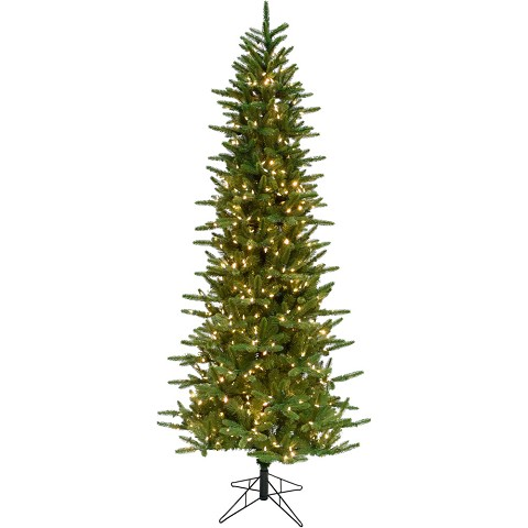 Fraser Hill Farm 7.5 Ft. Carmel Pine Slim Artificial Christmas Tree with Clear LED String Lighting - FFCP075-5GR