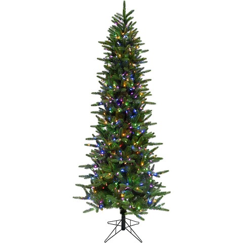 Fraser Hill Farm 9 Ft. Carmel Pine Slim Artificial Christmas Tree with Multi-Color LED String Lighting - FFCP090-6GR