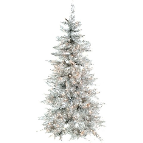 Fraser Hill Farm 7-Ft. Festive Silver Tinsel Christmas Tree with Smart String Lighting, FFFT070-3SL