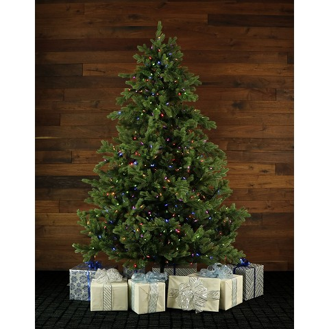 75 ft foxtail pine christmas tree with multi color led string lighting fffx075 6grez - How To String Lights On A Christmas Tree