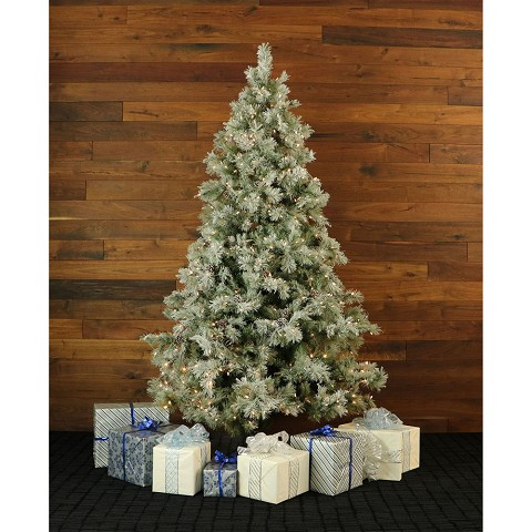 Fraser Hill Farm 7.5-Ft. Glistening Pine Tree with Pine Cones, Clear LED Lights and EZ Connect - FFGP075-5GR