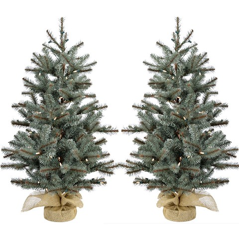 Fraser Hill Farm Set of Two 3-Ft. Heritage Pine Artificial Trees with Burlap Bases and Battery-Operated LED String Lights, FFHP042-5GRB/SET2