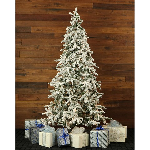9 Ft. Flocked Mountain Pine Christmas Tree with Clear LED String Lighting - FFMP090-5SN