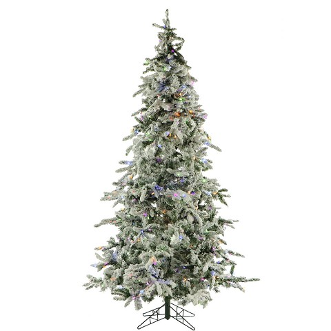 9 Ft. Flocked Mountain Pine Christmas Tree with Multi-Color LED String Lighting - FFMP090-6SN