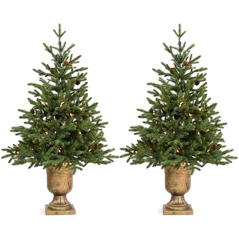 Fraser Hill Farm Set of Two 3-Ft. Noble Fir Artificial Trees with Metallic Urn Bases and Battery-Operated LED String Lights, FFNF042-5GRB/SET2