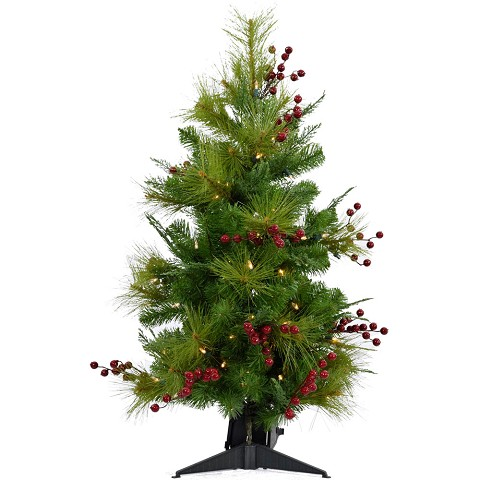 Fraser Hill Farm 2-Ft. Newberry Pine Artificial Tree with Battery-Operated LED String Lights, FFNP028-5GRB
