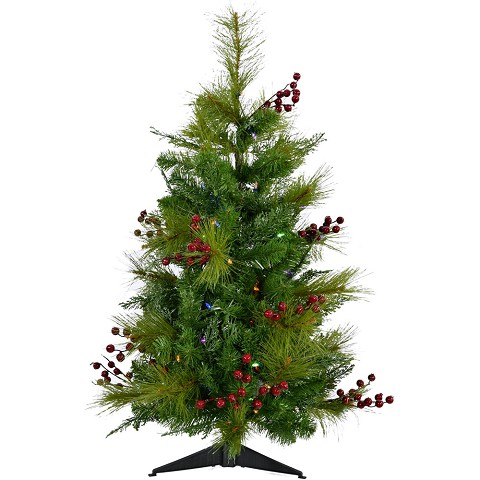 Fraser Hill Farm 3-Ft. Newberry Pine Artificial Tree with Battery-Operated Multi-Colored LED String Lights, FFNP042-6GRB