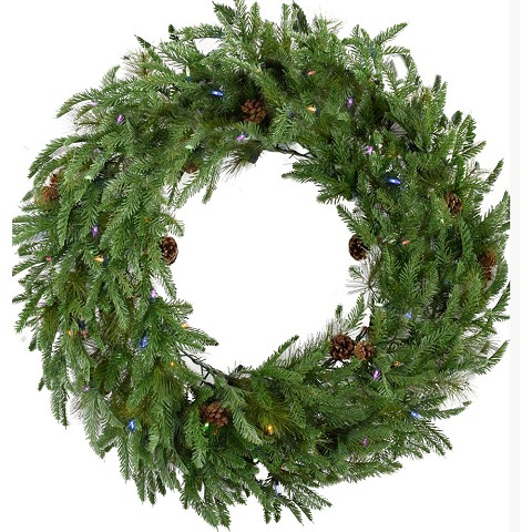 Fraser Hill Farm 48-In. Norway Pine Artificial Holiday Wreath with Multi-Colored Battery-Operated LED String Lights - FFNP048W-6GR