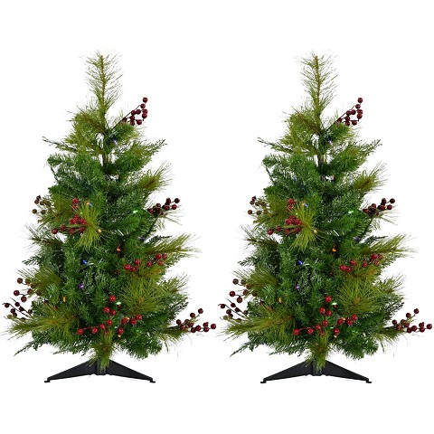 Fraser Hill Farm Set of Two 4-Ft. Newberry Pine Artificial Trees with Battery-Operated Multi-Colored LED String Lights, FFNP056-6GRB/SET2