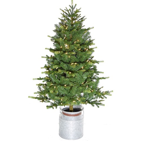 Fraser Hill Farm 4.5-Ft. Porch Accent Tree in Rustic Farmhouse Metal Jug with Warm White LED Lighting, FFPTD054-5GR