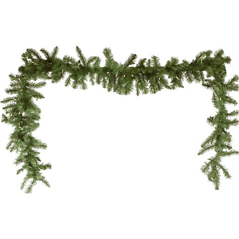 Fraser Hill Farm 9-Ft. Royal Pine Artificial Holiday Garland with Battery-Operated Warm LED String Lights, FFRP090G-5GRB