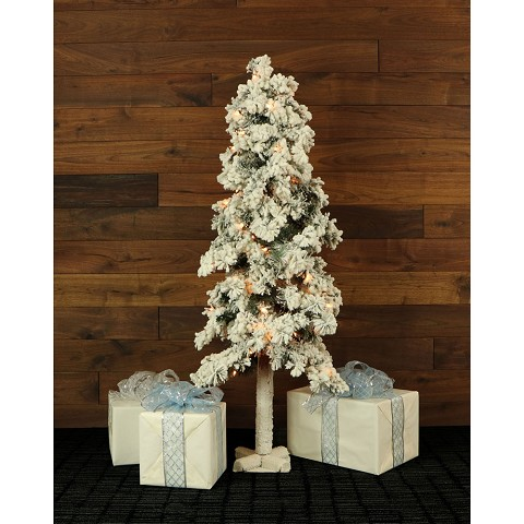 Fraser Hill Farm Set of 3 Snowy Alpine Trees with Clear Lights (2-Ft., 3-Ft., & 4-Ft.) - FFSA000-1SN/SET3
