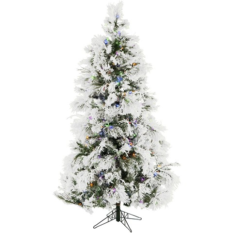 7.5 Ft. Flocked Snowy Pine Christmas Tree with Multi-Color LED String Lighting - FFSN075-6SNEZ