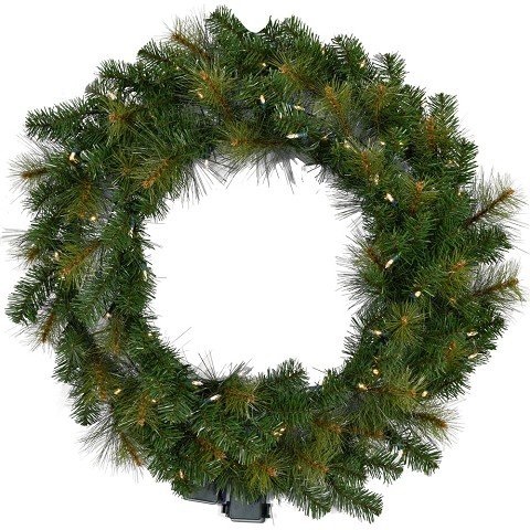 Fraser Hill Farm 36-In. Southern Peace Artificial Holiday Wreath with Clear Battery-Operated LED String Lights - FFSP036W-5GR