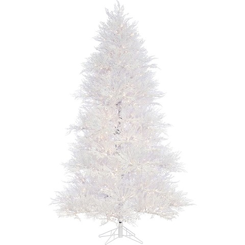 Fraser Hill Farm 7.5 Ft. Snowy Alpine Artificial Christmas Tree with SLED String Lighting - FFST075-5SN