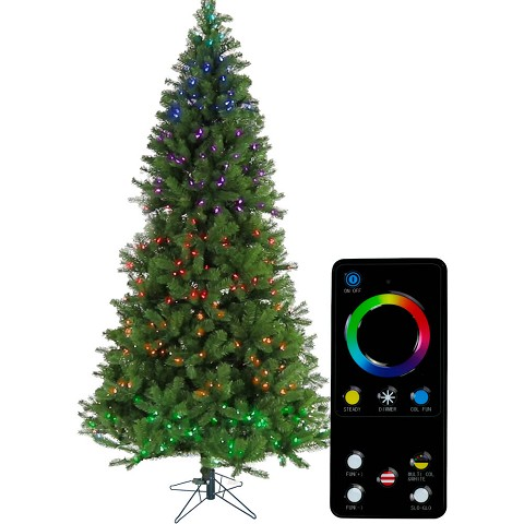 Fraser Hill Farm 7.5-Ft. Wondrous Pine Christmas Tree with RGB Technology Multi Function Lighting and Remote, FFWP075-6GR