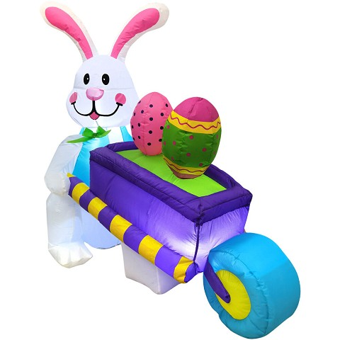 Fraser Hill Farm 4-Ft. Tall Easter Bunny Pushing a Purple Egg-Cart, Outdoor/Indoor Blow Up Spring Inflatable with Lights, FHINESTBN041-L2