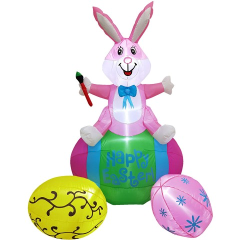 Fraser Hill Farm 5-Ft. Tall Pink Bunny Rabbit Sitting on a Happy Easter Egg, Outdoor/Indoor Blow Up Spring Inflatable with Lights, FHINESTBN051-L
