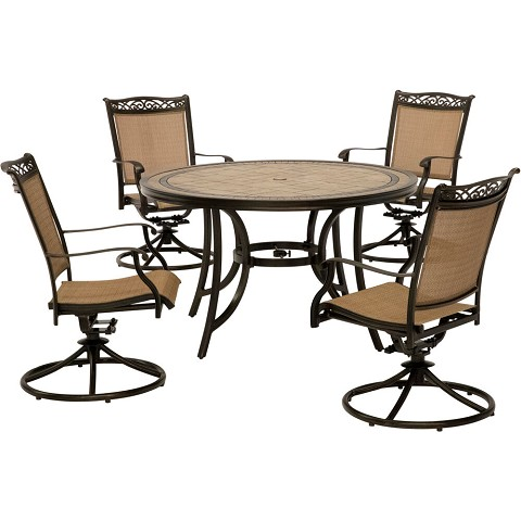 Hanover Fontana 5-Piece Outdoor Dining Set with Four Swivel Rockers and a 51 In. Tile-top Dining Table, FNTDN5PCSWTN