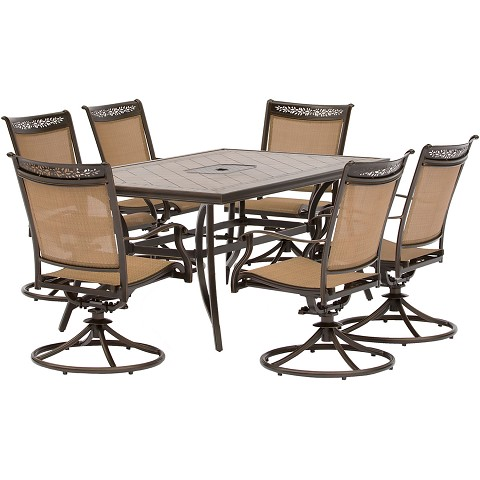 Fontana 7PC Dining Set with Six Swivel Rockers and a Large Tile-Top Dining Table - FNTDN7PCSWTN