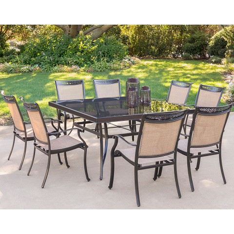 Fontana 9PC Dining Set with Eight Dining Chairs and a  60 In. Square Dining Table - FNTDN9PCSQG