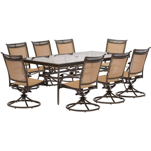 Fontana 9PC Dining Set with 8 Swivel Rockers and an XL Glass-Top Table - FNTDN9PCSWG