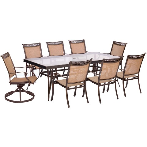 Fontana 9PC Dining Set with 6 Dining Chairs, 2 Swivel Rockers, and an XL Glass-Top Table - FNTDN9PCSWG-2