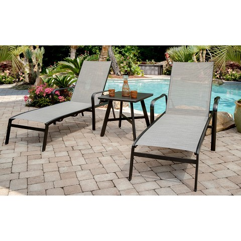 "Hanover Foxhill 3-Piece All-Weather Commercial-Grade Aluminum Chaise Lounge Chair Set with 22"" Square Slat-Top Table, FOXCHS3PC-GRY"