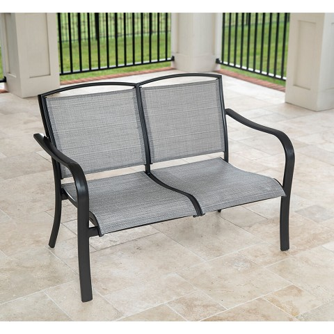 Hanover Foxhill All-Weather Commercial-Grade Aluminum Loveseat with Sunbrella Sling Fabric, FOXHLLVST-GMASH