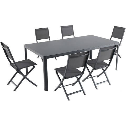 "Hanover Fresno 7-Piece Outdoor Dining Set with 6 Folding Chairs and a 42"" x 83"" Glass-Top Table - FRESDN7PCFD-GRY"
