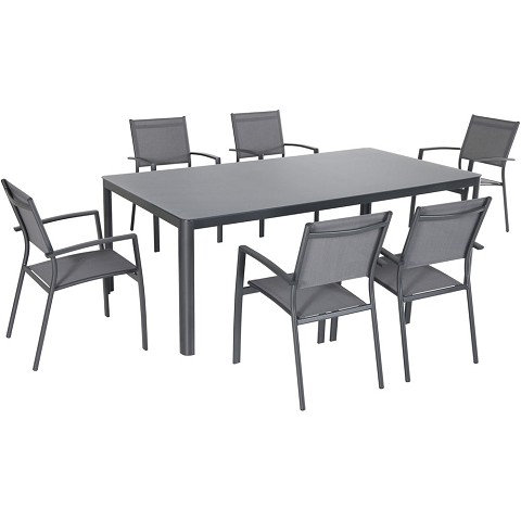 "Hanover Fresno 7-Piece Outdoor Dining Set with 6 Sling Arm Chairs and a 42"" x 83"" Glass-Top Table - FRESDN7PC-GRY"