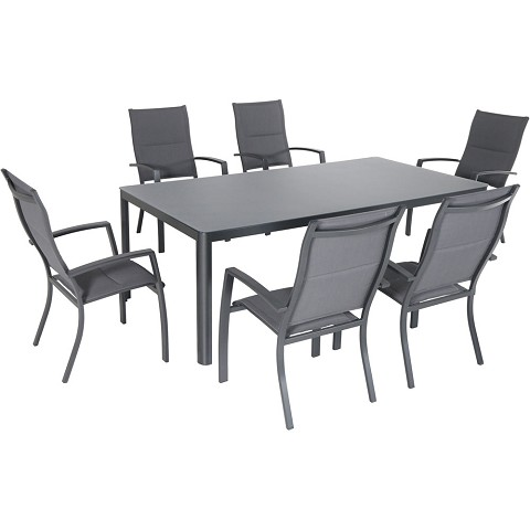 "Hanover Fresno 7-Piece Outdoor Dining Set with 6 Padded Sling Chairs and a 42"" x 83"" Glass-Top Table - FRESDN7PCHB-GRY"