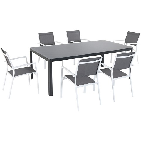 "Hanover Fresno 7-Piece Outdoor Dining Set with 6 Sling Arm Chairs and a 42"" x 83"" Glass-Top Table - FRESDN7PC-WHT"