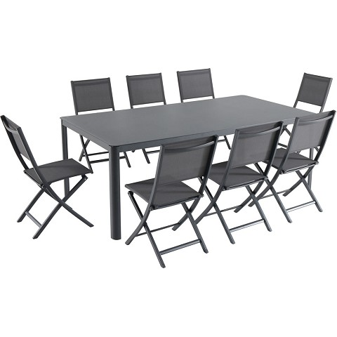 "Hanover Fresno 9-Piece Outdoor Dining Set with 8 Folding Chairs and a 42"" x 83"" Glass-Top Table - FRESDN9PCFD-GRY"