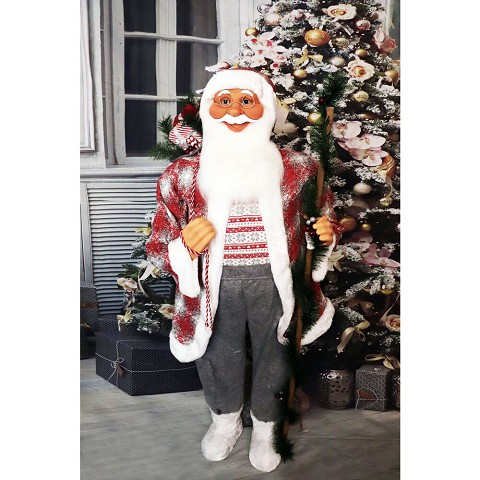 Fraser Hill Farm Life-Size Indoor Christmas Decoration, 5-Ft. Standing Santa Claus Holding a Staff & Wearing a Tweed Jacket w/ White Fur Trim, FSC058-0WT2