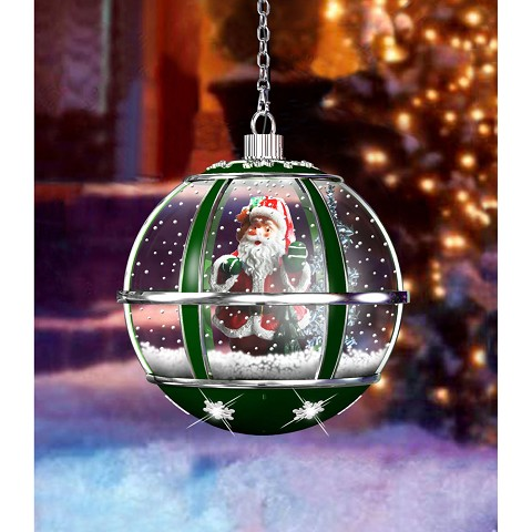 "Fraser Hill Farm 13"" Hanging Musical Globe in Green featuring Santa Scene and Snow Function - FSHL013RDA-GN"
