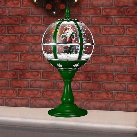 "Fraser Hill Farm 23"" Musical Tabletop Globe in Green featuring Santa Scene and Snow Function - FSTL023RDA-GN"
