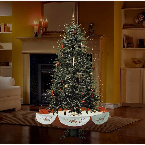 "Fraser Hill Farm 55"" Snowing Musical Christmas Tree with Red Base and Snow Function - FSTR055A-RD"
