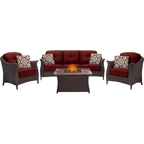 Gramercy 4PC Woven Fire Pit Set with Tan Porcelain Tile Top in Crimson Red - GRAM4PCFP-RED-TN