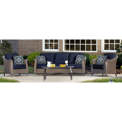 Gramercy 4PC Seating Set in Navy Blue - GRAMERCY4PC-NVY