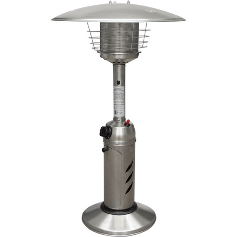 Hanover Mini Umbrella Tabletop Propane Patio Heater in Stainless Steel - HAN0203SS