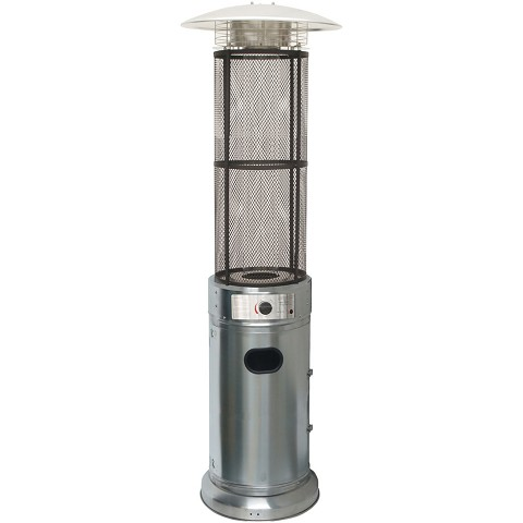 Hanover 6 Ft. 34,000 BTU Cylinder Patio Heater with Glass Flame Display in Stainless Steel - HAN030SSCL