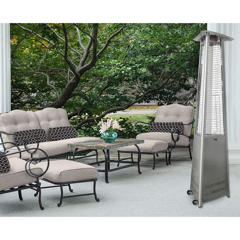 7 Ft. Pyramid Propane Patio Heater in Stainless Steel - HAN104SS