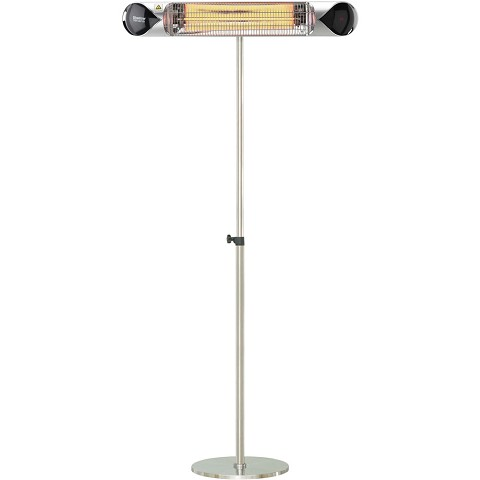 "Hanover 35.4"" Wide Electric Carbon Infrared Heat Lamp with Remote Control and Adjustable Pole Stand, Silver, HAN1051ICSLV-SD"