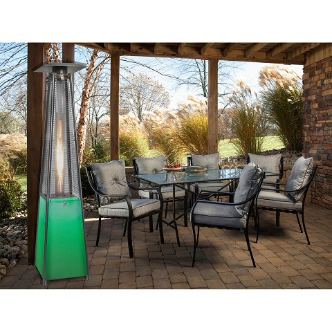 7 Ft. Propane Patio Heater with Stainless Steel Frame and Multi-Color LED Base - HAN110SS