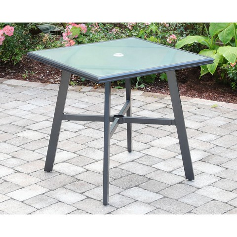 "Hanover All-Weather Commercial-Grade Aluminum 30"" Square Glass-Top Bistro Table, HANCMDNTBL-30GL"